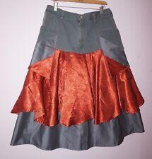 "AN' Exclusive Clothing designer OOAK jeans skirt sz 14/L waist 36"" festival"