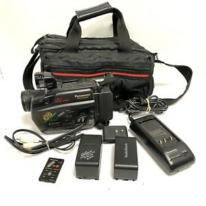 Panasonic PV-43D VHS-C Camcorder Palmcorder Case Charger Batteries Tested Works