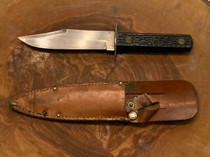"Vintage 8 1/2"" Colonial Prov. USA Military Bowie Knife with Leather Sheath"