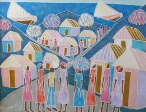 "ORIGINAL HAITIAN FOLKART PAINTING BY HILOME JOSE ""VILLAGE"" OUTSIDERART HAITI"