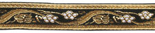 20mm Woven Metallic Black, Gold and White Braid per Metre