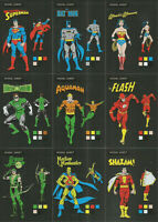 "DC Comics Justice League ~""MODEL SHEETS"" 9-CARD FOIL PARALLEL INSERT SET MS1-MS9"
