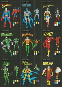 """DC Comics Justice League ~""""MODEL SHEETS"""" 9-CARD FOIL PARALLEL INSERT SET MS1-MS9"""