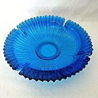 """Vintage Blenko Art Glass Cobalt Blue Sunburst Heavy Ashtray 9"""""""