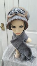 Ladies grey knitted set hat and scarf warm for Autumn/winter one size