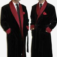 Men Smoking Jacket Red Shawl Lapel Prom Wedding Party Wear Long Robe Gown Jacket