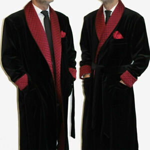 Men Smoking Jacket Red Shawl Lapel Prom Wedding Party Wear Long Robe Gown Jacket
