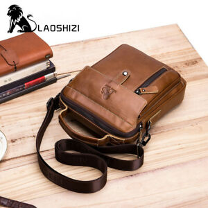 Men Square Top Layer Genuine Cowhide Crossbody Bag Phone File Day Shoulder Bag