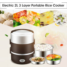 2L 3 Layer Electric Heating Lunch Box Storage Container Food Warm Heater Car Kit