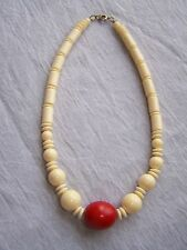 14 1/2 inch Necklace Tan and Red**
