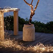 20m 200 LEDs Solar Silberlinie Lichterkette Patio Garten Außenbeleuchtung Lampe