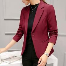 Office Ladies Lapel Collar Button-Down Blazers Short Jacket Business Work Coats