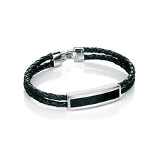 Designer - Fred Bennett Gents Silver Black Agate & Leather bracelet - B4381
