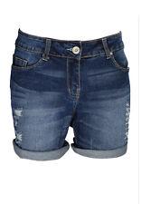 Ladies Boyfriend Stretchy Denim Shorts Distress Half Pant Ripped Hotpants RollUp
