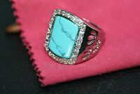 Turquoise 925 Sterling Silver Men's Costume Jewelry CZ Ornate Shiny Ring Sz 11