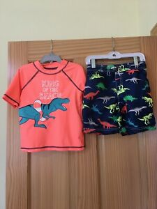 New Carter's Dinosaur Rash Guard Shirt Trunk Shorts Swim 2pc Set UPF 50+ Boy