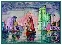 Port of Biscay France by Impressionist Paul Signac Counted Cross Stitch Pattern