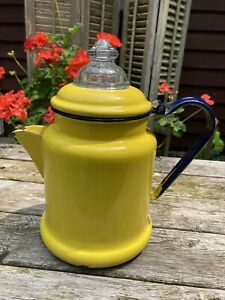VINTAGE ENAMELWARE YELLOW~ BLUE HANDLE~GLASS TOP COFFEE POT PERCOLATOR FARMHOUSE