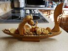 "Italian Seashell Art Wood Gondola Boy Fig-Antique Victorian ""Sailors Valentine""?"