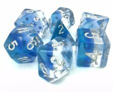 Blue Aurora Poly Dice Set Blue Clear Baby Blue Sky (7) Translucent New RPG DnD