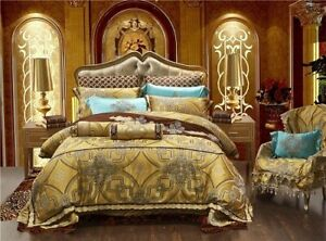 10 Pieces of Luxury Satin Royal Bedding Set Gold Large King Size 2020 Home Top