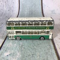 ORIGINAL 1960s DINKY TOYS 293 GREEN WHITE LEYLAND ATLANTEAN BP DOUBLE DECKER BUS