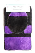 High Pile 3 Piece Bathroom Set Bath Mat Contour Rug & Lid Cover - Purple Black
