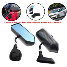 2pcs F1 Carbon Fiber Universal Car Truck Side Blue Rearview Mirror Metal Bracket