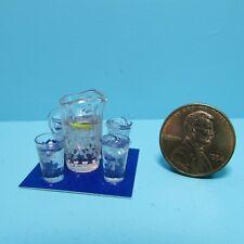Dollhouse Miniature Chrysnbon Pitcher of Pink Lemonade & 4 Filled Glasses CB168