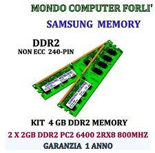 4 GB (2 X 2GB) DDR2 MEMORIA / RAM SAMSUNG PC2 6400U 800MHz NONECC ALTA DENSITÀ