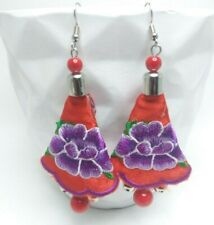 Boho Bohemian Embroidered Earrings w/Purple Flower Rose embroidered hanging bead