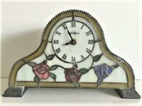 Vintage Dale Tiffany Stained Glass Floral Table Lamp Desk Mantle Clock