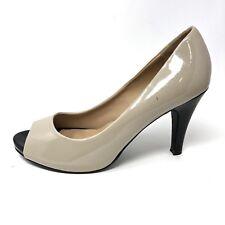 Lane Bryant Womens $60 Black Tan Peep Toe Patent Pumps Size 10W