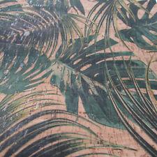 JUNGLE LEAVES PRINTED Cork Fabric /  Cork Leather ~  per 1/4m