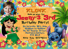 Personalised Lilo and Stitch Party Invitations Lilo & Stitch invites xset 8