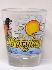Maryland With State Bird Sun And Sailboats Shot Glass