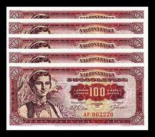 YUGOSLAVIA 100 DINARA 1963 UNC 5 PCS CONSECUTIVE LOT P 73