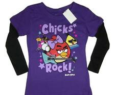 New Size 6 GIRLS ANGRY BIRDS CHICKS ROCK LOVE LIFE AND MUSIC FASHION SHIRT