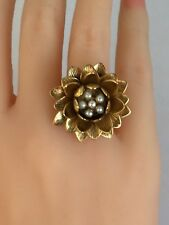 Designer Anitanja Dimensional Water Lily Bronze 14KT Yellow Plated Ring Size 7