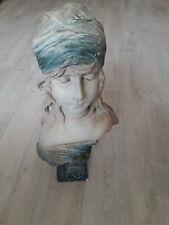 """Buste Art-Nouveau en Terre cuite polychrome """"LAYS"""", signée A. Nanteuil, n° 309"""