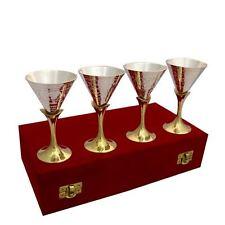 Set of 4 Wine Whisky Vodka Martini Cocktail Glasses in a Red Velvet Box UK