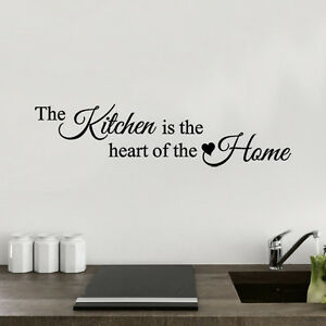 The kitchen is the heart of the home -  Wall Quote Sticker - Art Decor