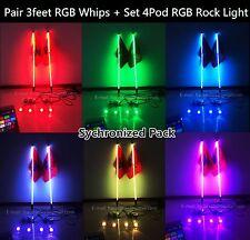 Synchronize Pair 3feet RGB Whips Lights +One Set 4Pod RGB Rock Light (Bluetooth)