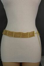 New Women Gold Wide Beads Metal Chain Links Fashion Belt HIp High Waist Size S M