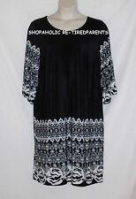 INTRIGUING THREADS - DRESS – BLACK & WHITE BORDER PRINT – SIZE 20 W – NEW $40