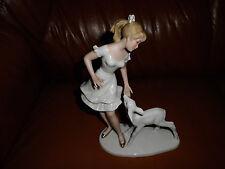 """Porzellanfigur Ballerina """"Mädchen mit einem Kitz"""" signiert  Steiner"""