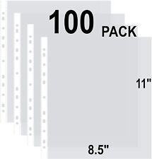 100 Clear Binder Sheet Protectors 8.5 x 11 Inch Plastic Sleeves for Binders