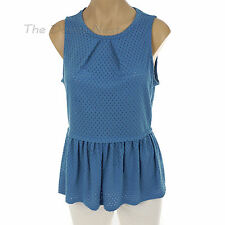 ELLE Women's X-LARGE Sleeveless MARINA BLUE TOP Open EYELET Weave PEPLUM HEM