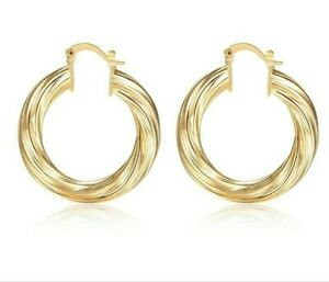 Vintage medium size gold colour thick round hoop fashion earrings