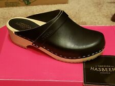 NEW Swedish Hasbeens Husband Clog Black SZ 36 $175